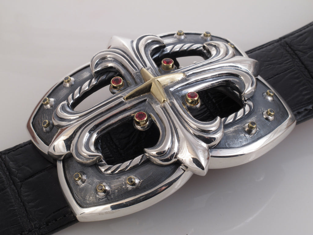 #1335 Custom Sterling, 18kt Trophy Buckle with Diamonds, Sapphires
