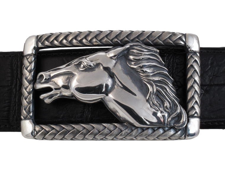 Running Horse in Braided Frame Buckle