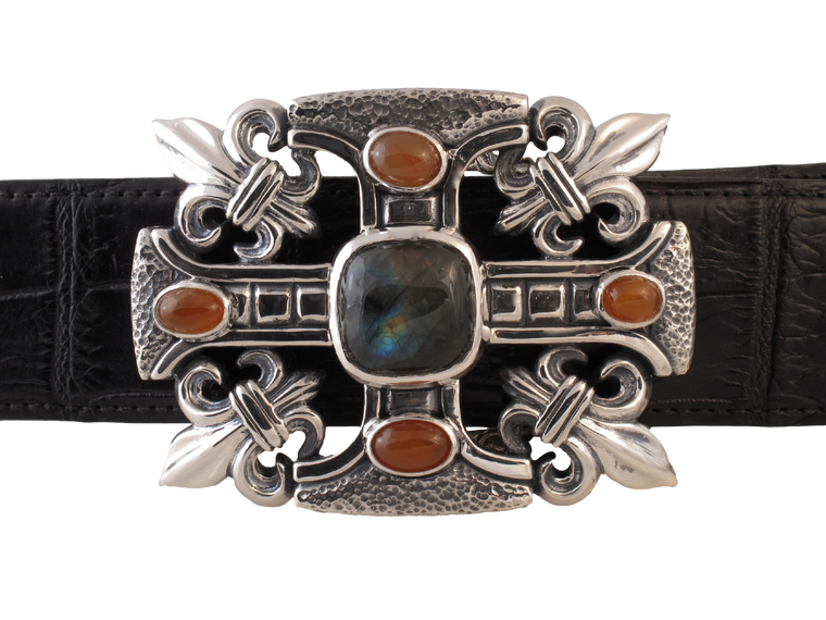 #1328 Gothic Cross, Fluer di Lis Sterling Trophy buckle with stones