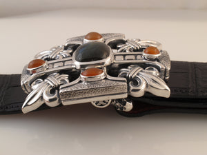 #1328 Gothic Cross, Fluer di Lis Sterling Trophy Buckle with Labrodorite, Carnelian stones