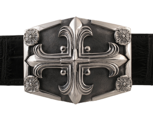 Sterling Gothic Cross on Shield Buckle