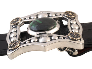 #1360 Sterling, Bronze Trophy Buckle set with African Garnet, side view