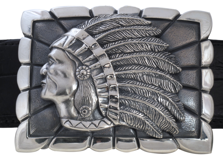 Indian on Rectangular Trophy Buckle