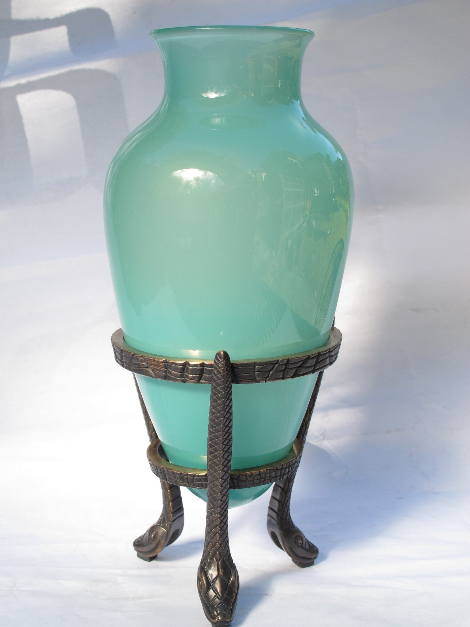 Bronze Snake base and Blown Glass Amphora
