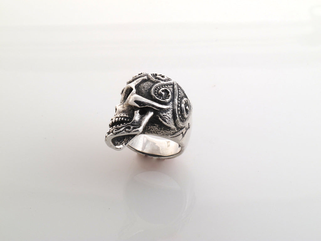 Sterling Sugar Skull Ring side view
