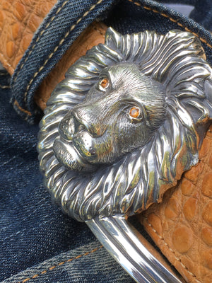 #1250S -  Sterling Lion's Head Buckle with Spessaratite Eyes