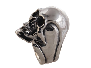 """#DR - 12 Sterling Skull Ring as seen from the side."""