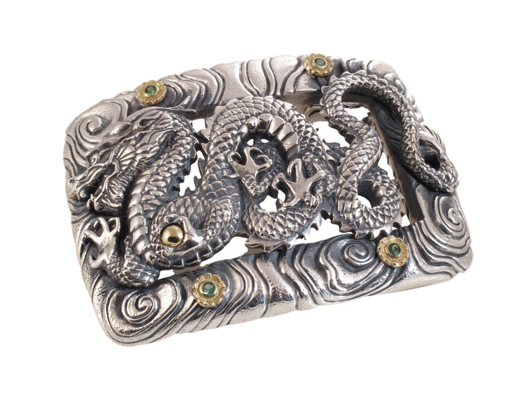 #1366 Custom Dragon Buckle in Sterling and 18kt with tsavorites