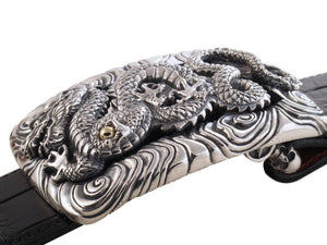 #1366 Dragon in Clouds Sterling with18kt Trophy Buckle