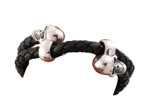 Double Skull Sterling/Leather Bracelet