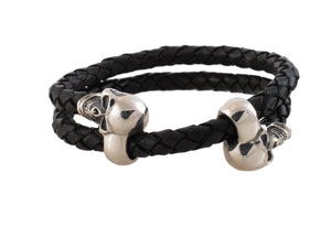 Double Sterling Skulls/ Leather Adjustable Bracelet