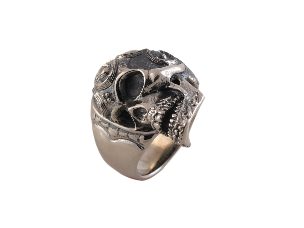 Sugar Skull Ring in Sterling