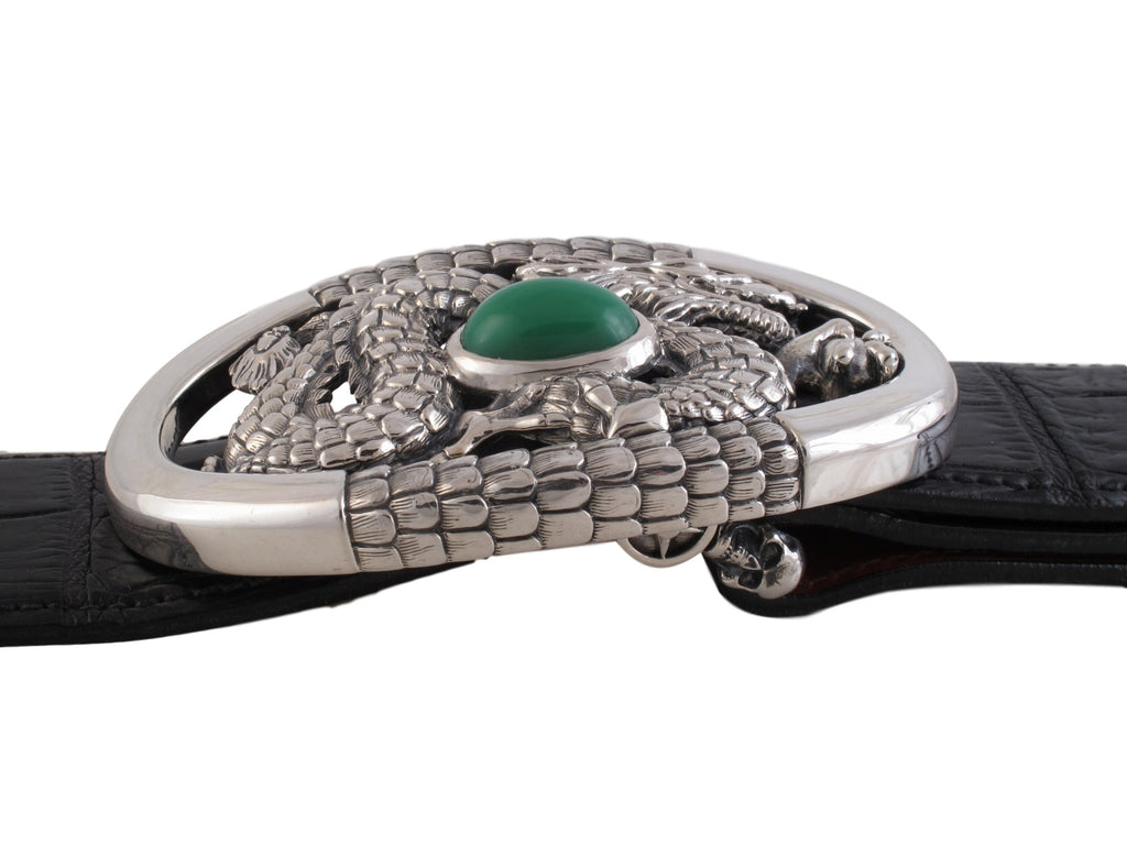 #1361 Custom Sterling Trophy with green Chalcedony, side view