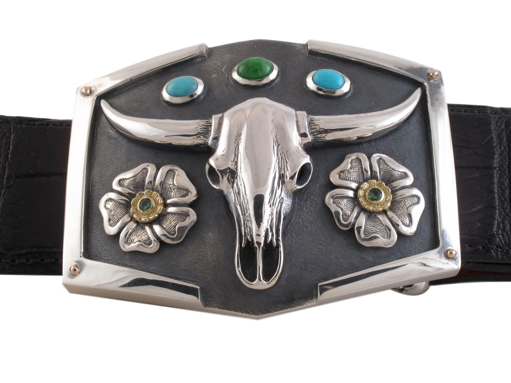 #1358 Custom Sterling Skull Trophy Buckle with Stones front view