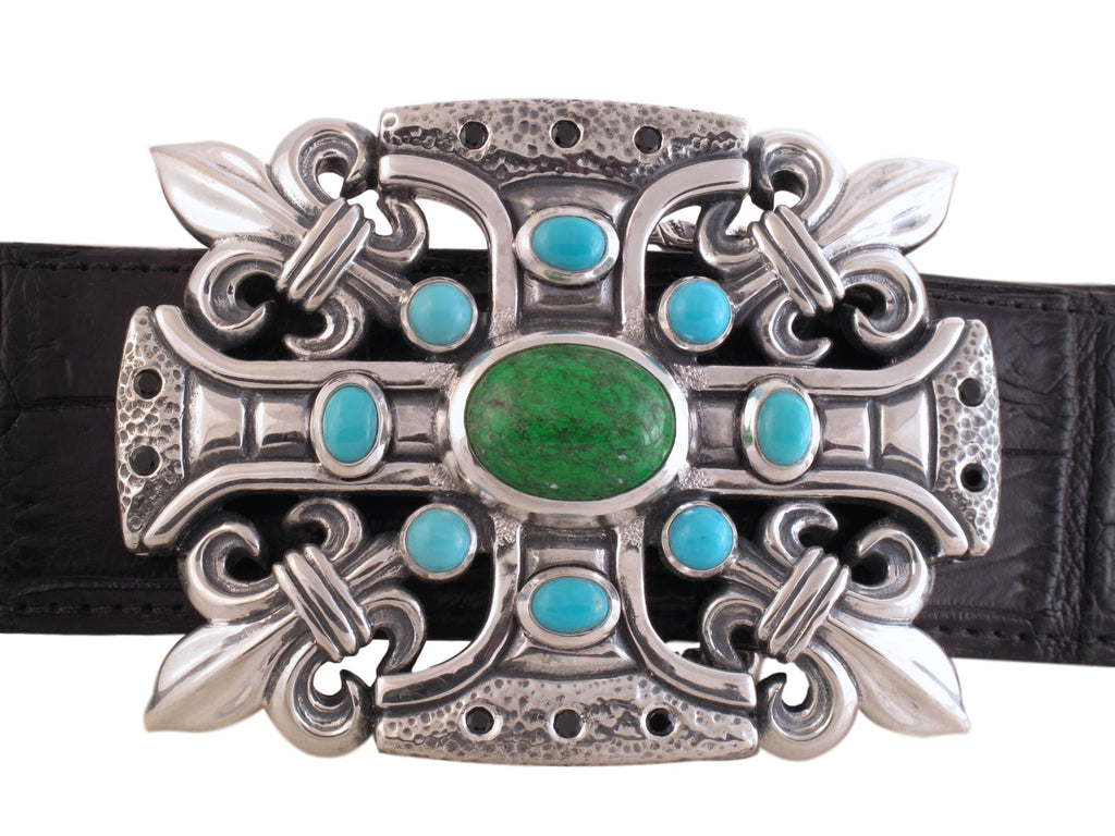 #1328 Custom sterling buckle with turquoise, maw sit sit and black spinel