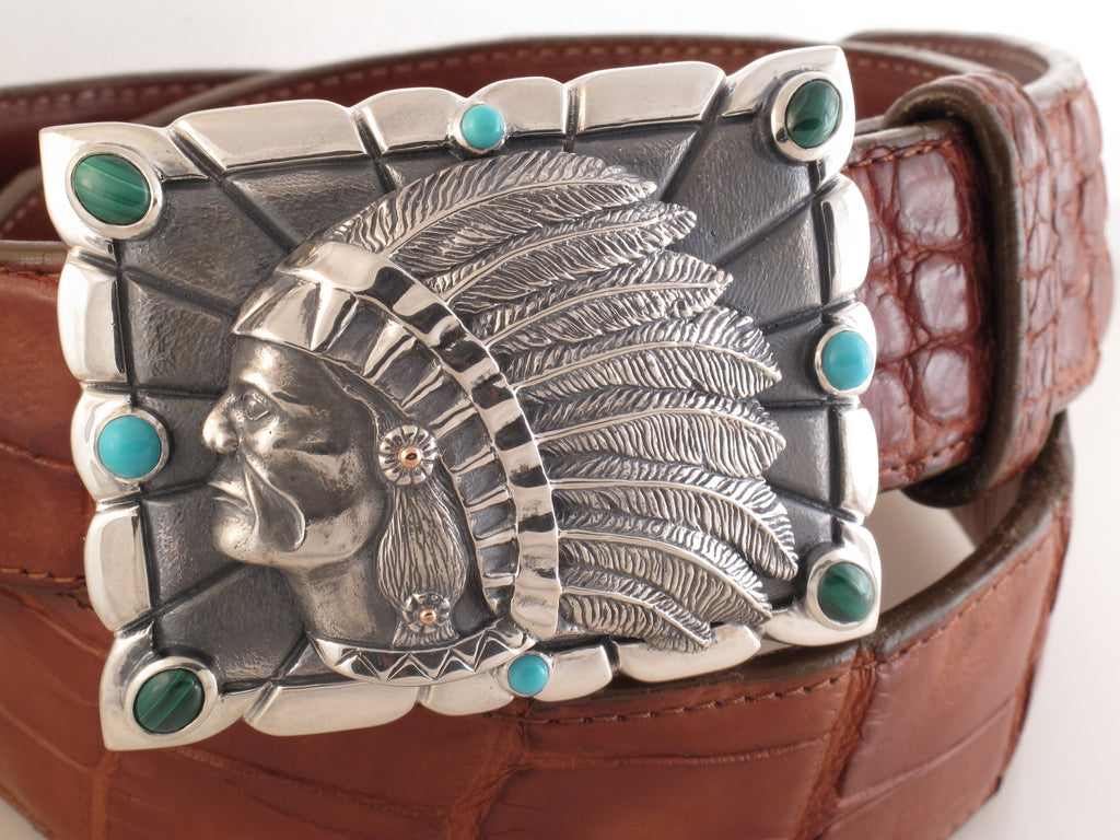 Indian Chief Sterling trophy buckle w/turquoise, malachite