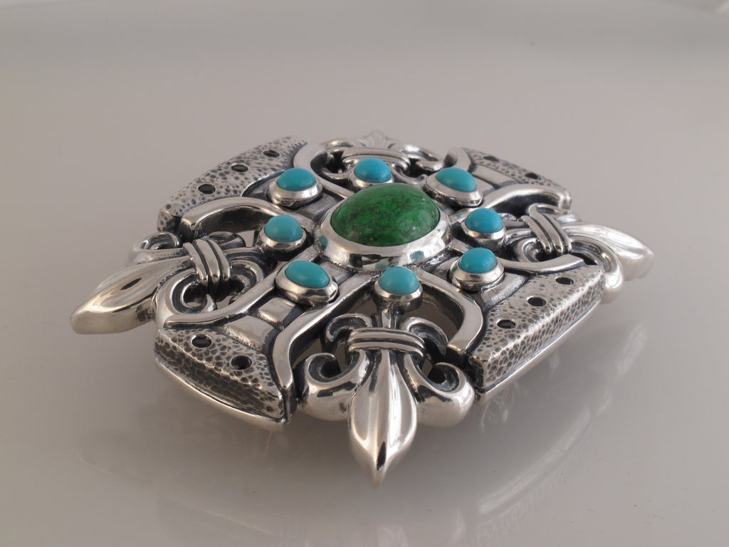 #1328 Custom Sterling Trophy Buckle Turquoise, Spinel, Maw Sit Sit