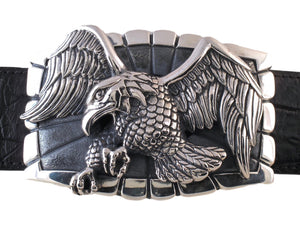 Front view of the Sterling Flying Eagle Trophy buckle.