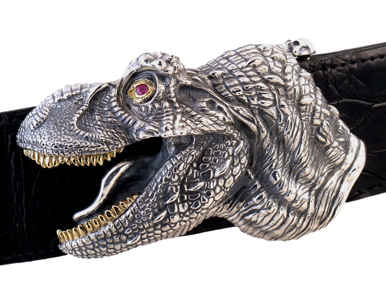Front view of the Sterling T Rex Head buckle on a black alligator strap