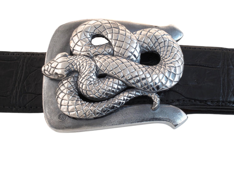 Front view of Coiled Snake buckle with the polished Snake standing in contrast to the distressed, antiqued buckle frame.