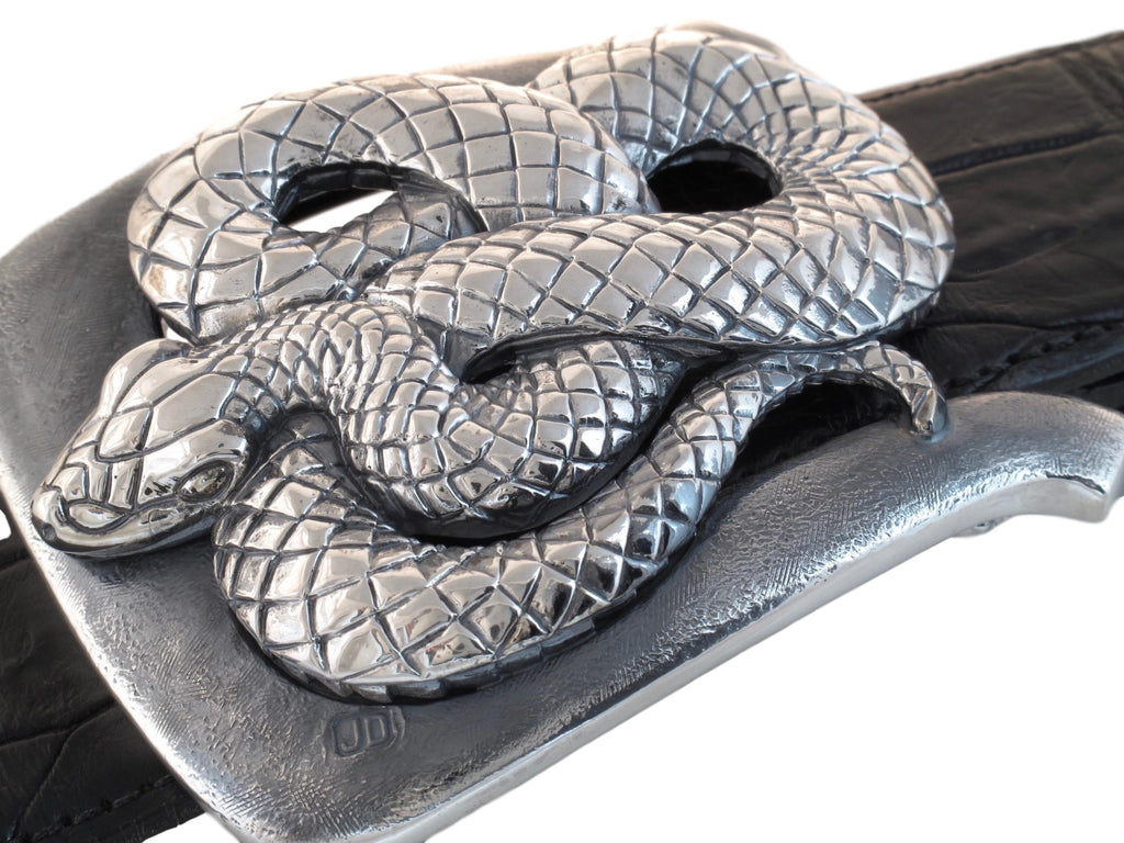 "Angled top view of Coiled Snake buckle on 1.5"" strap."