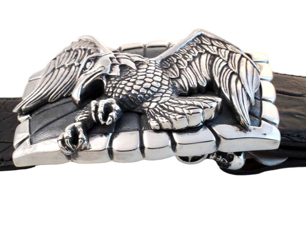 Side view of the Sterling Eagle Trophy buckle on a black alligator strap.
