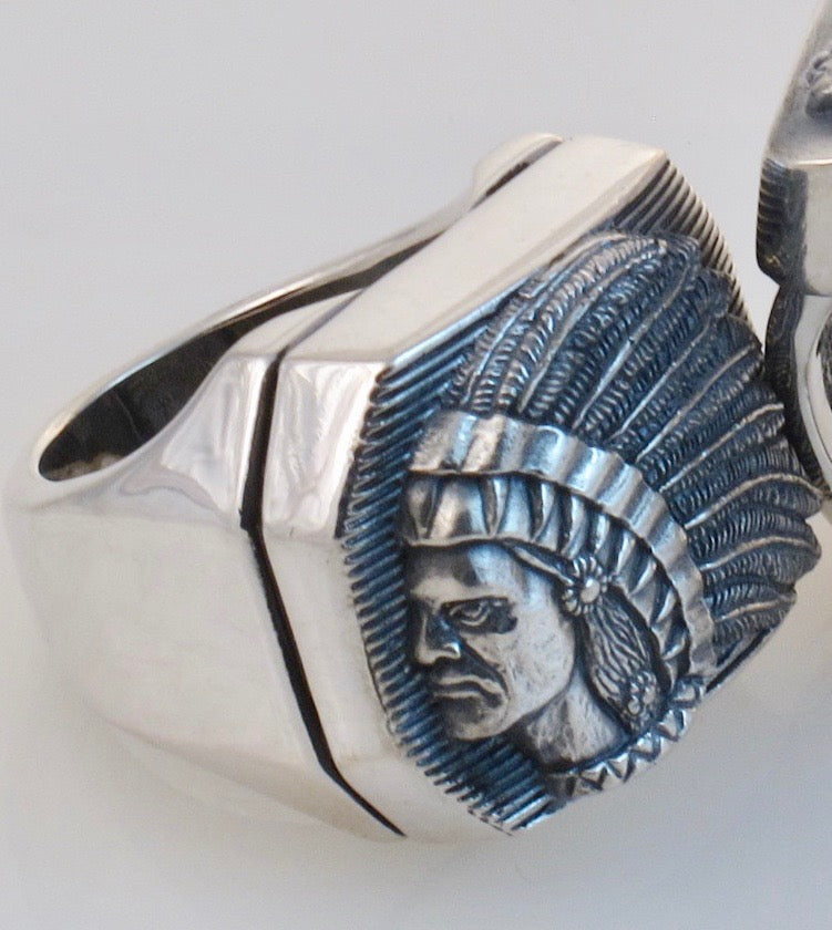 """#DR - 13 Large Big Chief Sterling Ring angle view."""