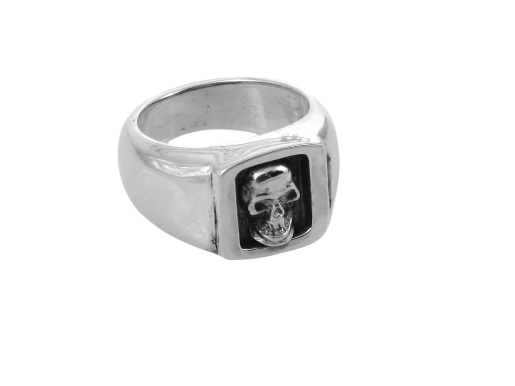 #DR - 16 Sterling Small Boxed Skull Ring seen from front.""