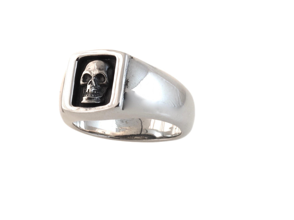 """ #DR - 16 Small Boxed Skull Ring in Sterling side view."""