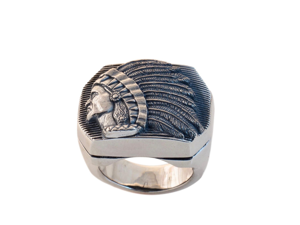 """#DR - 13 Sterling Large Big Chief Ring seen from the top front view."""