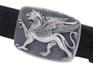 An angled front view of the Sterlin Griffin trophy buckle on a black alligator strap.