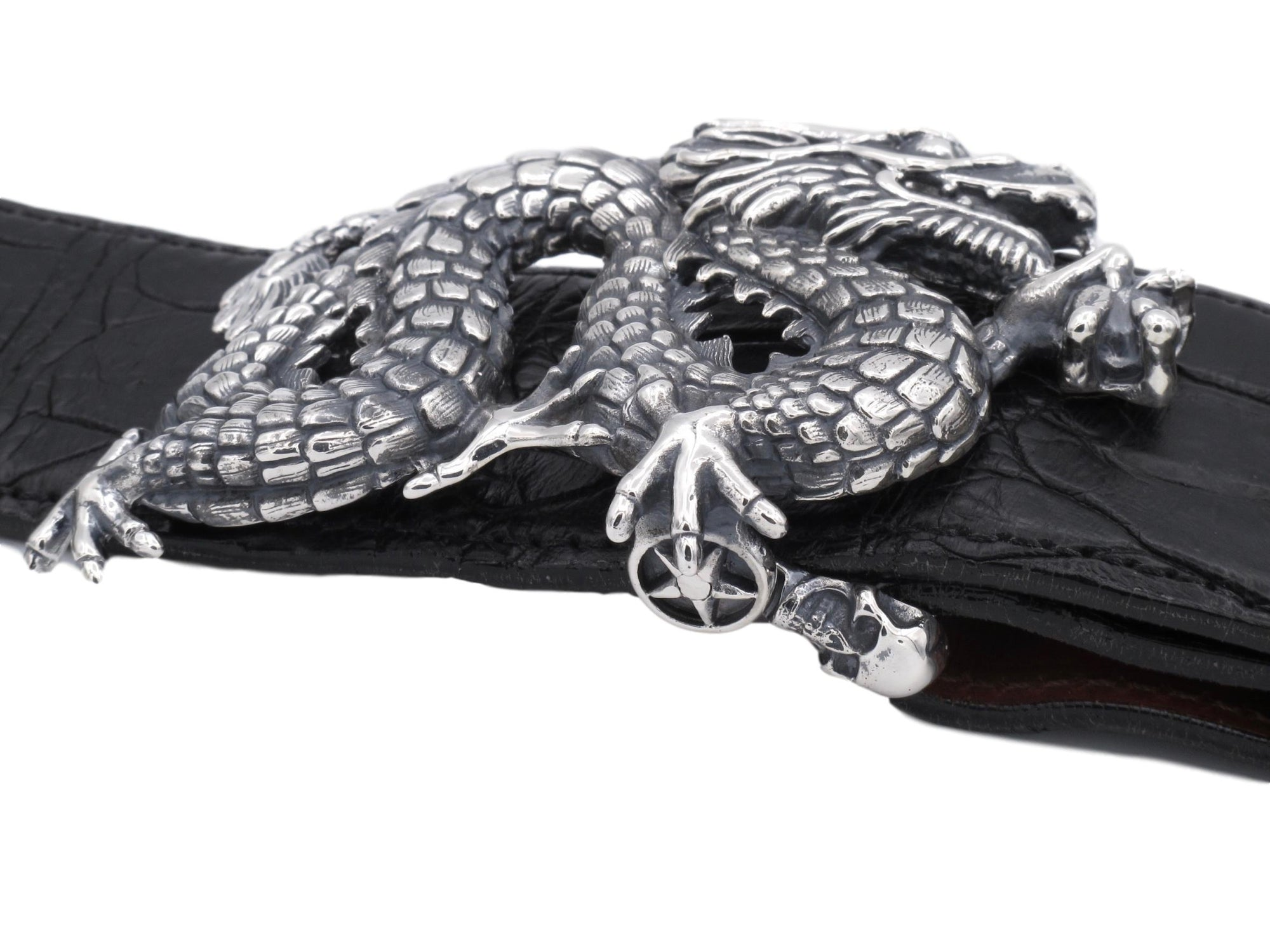 "Front view of the Freestanding Dragon buckle on a 1.5"" black Alligator strap."