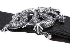"Side view of the sterling Freestanding Dragon buckle on Black Alligator 1.5"" strap."