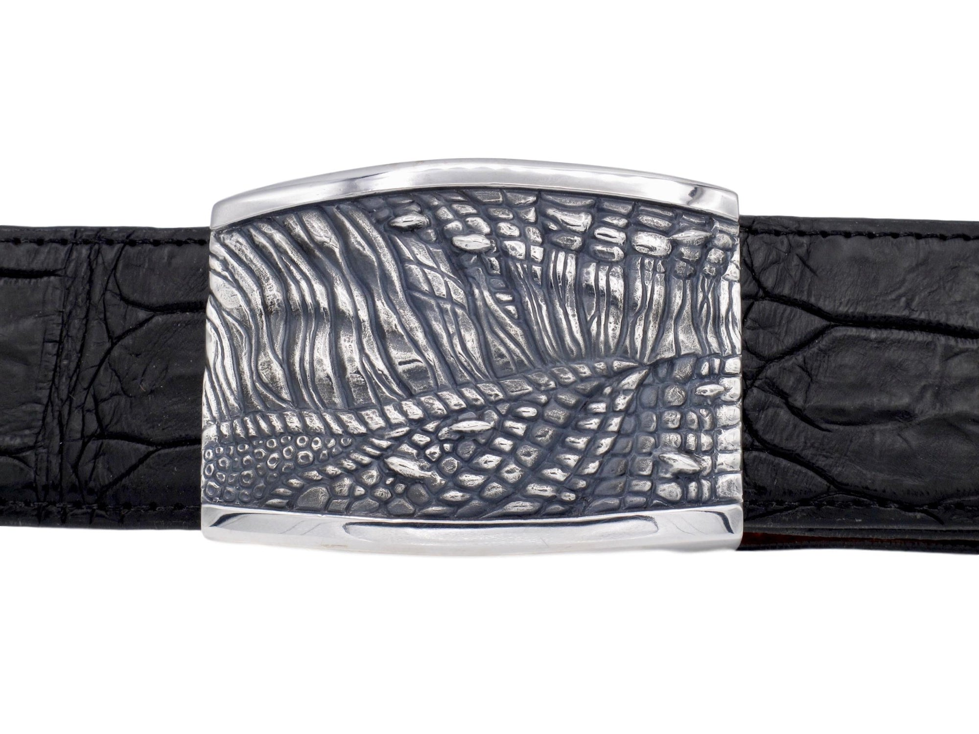 "Front on view of the Sterling T Rex Skin Plaque buckle for 1.5"" strap. Shown on black alligator strap."