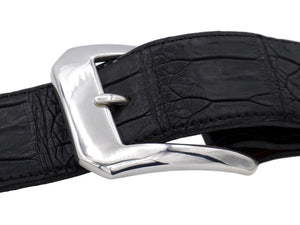 "Side view of the Clipped Corner Dress buckle on a black 1.5"" alligator strap."