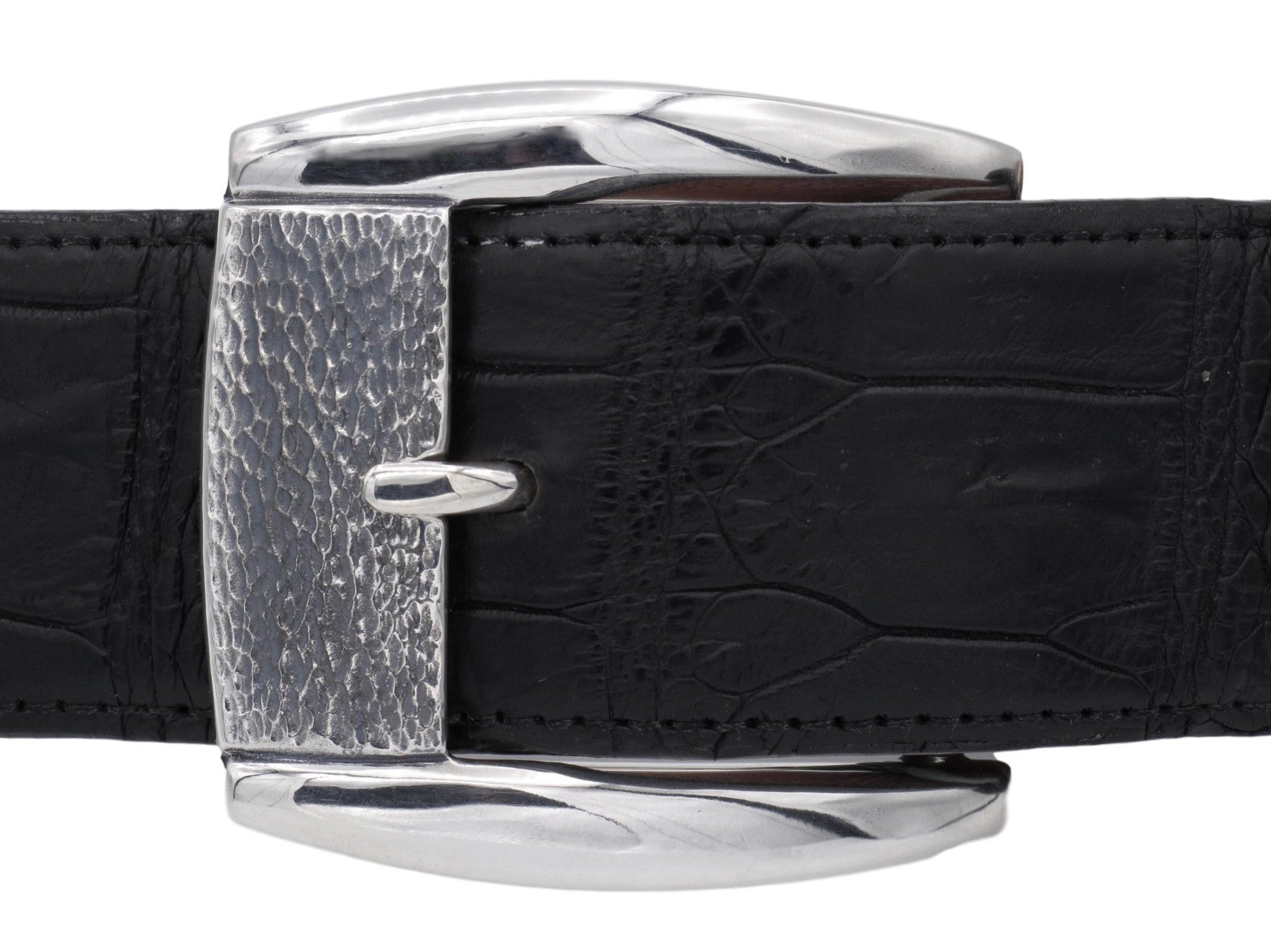 "Front view of the Textured Front Dress Buckle in Sterling for 1.5"" straps. Pictured on a black alligator strap."