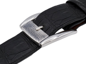 "Angled view of the Sterling Textured Front Dress buckle on a 1.5"" strap."