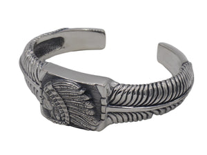 #DB-19 Big Chief Feather Cuff, Sterling