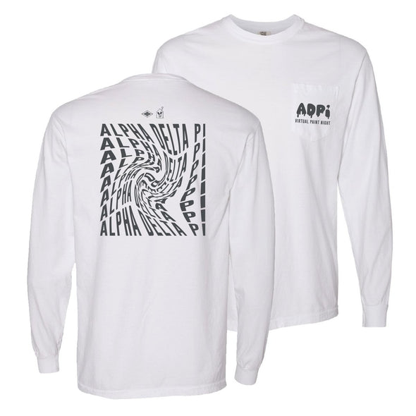 ADPi Comfort Colors White Virtual Paint Night Long Sleeve Tee