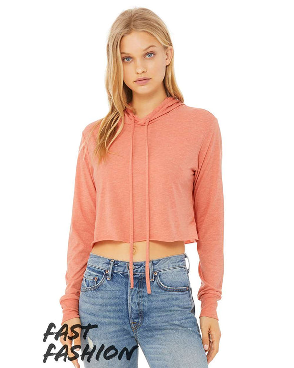 Fast Fashion Women's Tri-blend Cropped Long Sleeve Hoodie