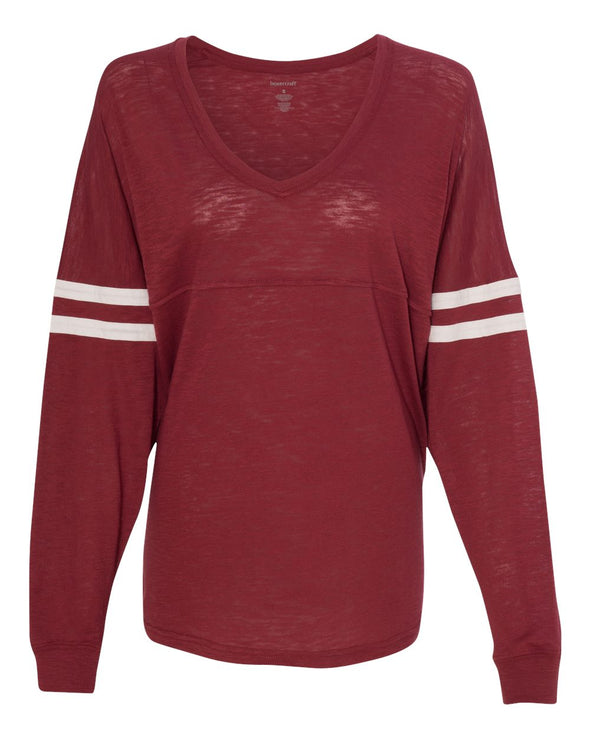 Women's Slub Jersey Varsitee V-Neck Long Sleeve T-Shirt