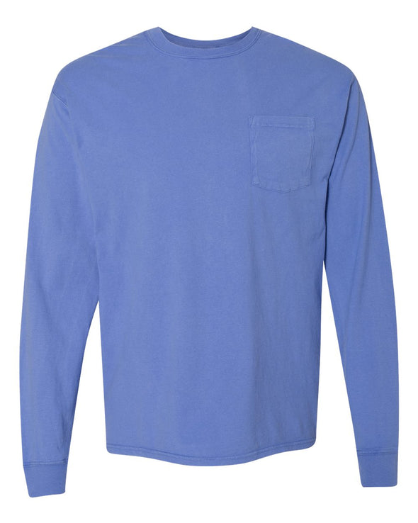 Garment Dyed Long Sleeve T-Shirt with a Pocket