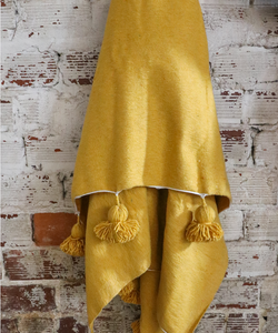 Yellow Spice Handwoven Cotton Pom Blanket
