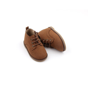 Bondi Brown - Microfiber suede kids boot with lace and zip details.