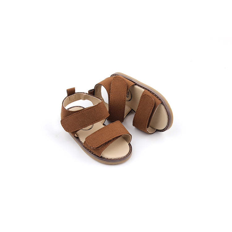 Coolum Brown - Microfiber suede kids sandal with double velcro fastener.