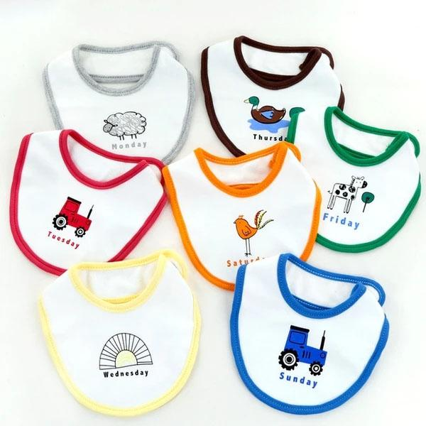 Mom's care 7Pcs baby bib printed anti-overflow milk newborn week saliva towel baby waterproof cute cartoon baby burp cloth 0-24