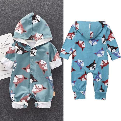 Newborn Baby Girl Infant Hooded Fox Romper Jumpsuit Playsuit Sunsuit Clothes