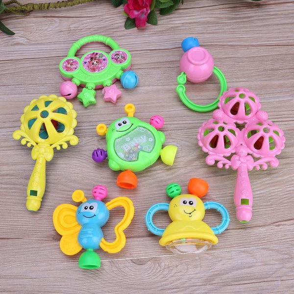 7 pcs/Set Plastic Hand Jingle Shaking Bell Rattles Toys Newborn Teether Baby Toy Rattles Toys For Children Newborns Rattles