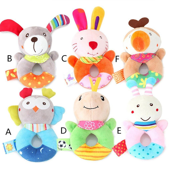 Animal Hand Bells Teether Rattle Doll Plush Baby Rattles Toys Infant Newbron Early Education Toys Monkey Panda Dog