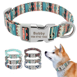 Customized Printed Pet Collar Nylon Dog Collar Personalized Free Engraved Puppy ID Name Collar for Small Medium Large Dogs Pug